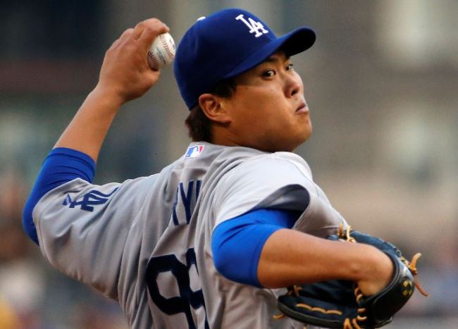 Los Angeles Dodgers starting pitcher Ryu Hyun-Jin (AP)