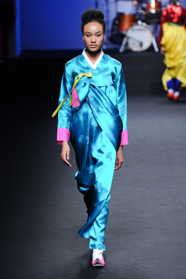 Designer Kim Hye-soon's hanbok-inspired pieces in bright colors (Seoul Design Foundation)