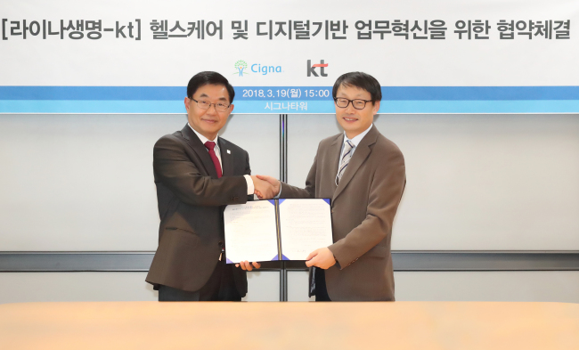 Benjamin Hong, CEO of Lina Life Insurance (left), poses with Koo Hyun-mo, president of KT'scorporate planninggroup after signing a MOU on artificial intelligence cooperation at Lina's head office in central Seoul on Monday. (KT)