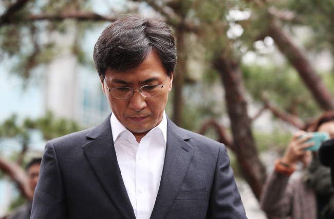 An Hee-jung arrives at the Seoul Western District Prosecutors' Office for questioning. (Yonhap)