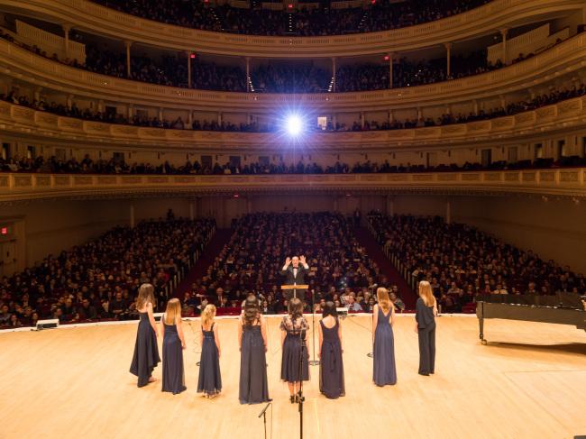 Dwight School students perform at Carnegie Hall on Feb. 13. (Dwight School Seoul)