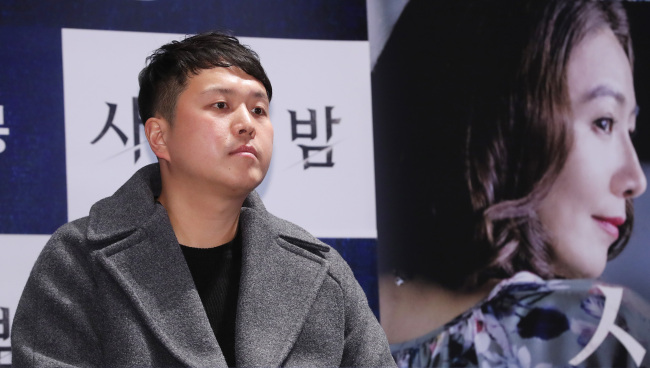 "Lee Chang-hee is seen during a press conference after the premiere of ""The Vanished"" in Seoul on Feb. 28. (Yonhap)"