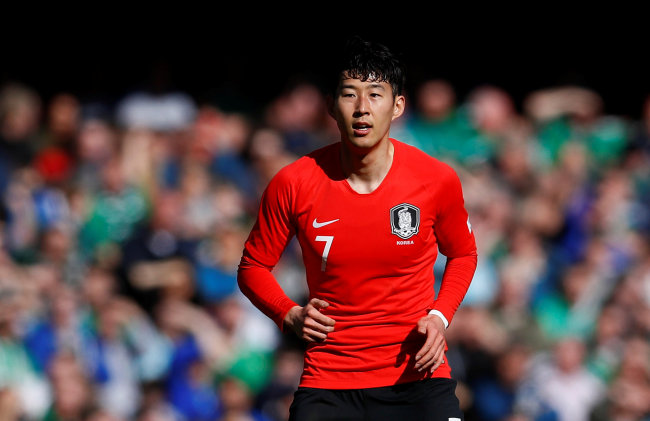 South Korea`s Son Heung-Min at National Football Stadium at Windsor Park, Belfast, Britain, on March 24, 2018. (Reuters-Yonhap)