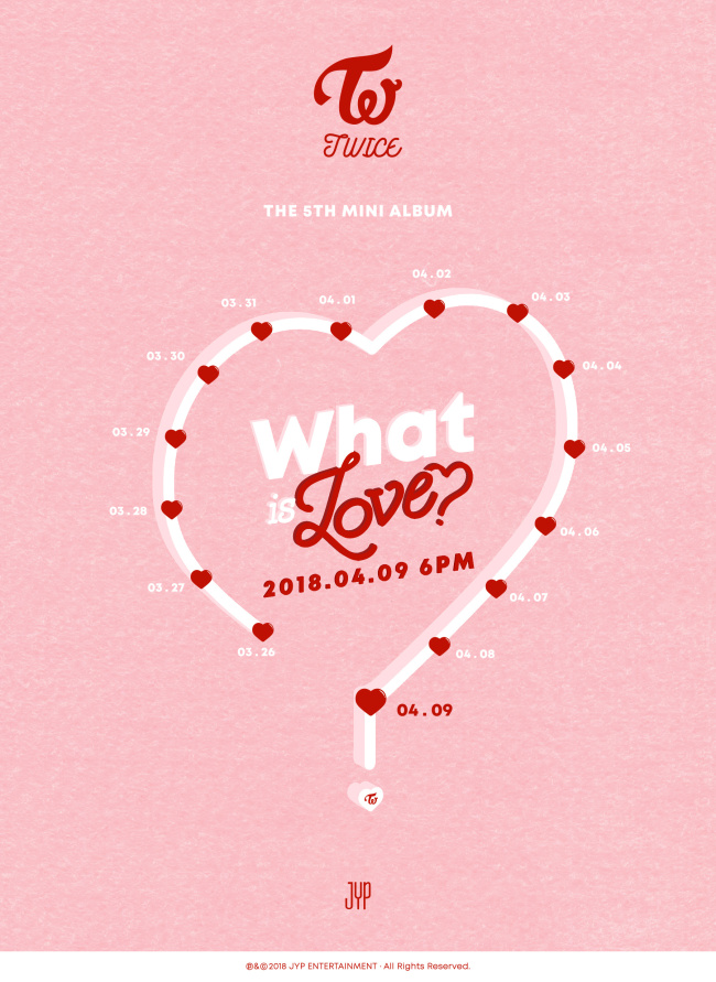 "A promotional image for Twice's upcoming EP ""What is Love"" (JYP Entertainment)"