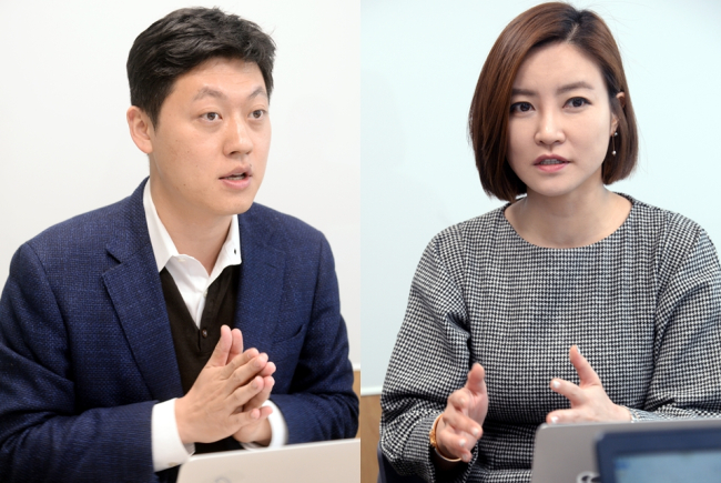 QARASoft co-CEO Byun Chang-hwan (left) and Son Bo-mi (Park Hyun-koo/The Korea Herald)