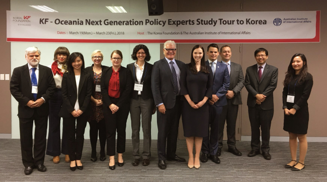 Scholars and researchers from Australia through the Korea Foundation's Next Generation Policy Experts' Study Tour of Korea pose during a visit here last week. (Korea Foundation)