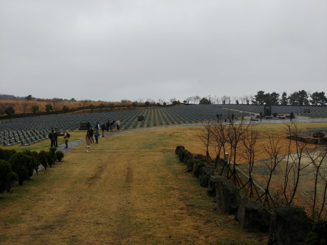 The empty graves of those who went missing during the 1948 massacre in the aftermath of the Jeju Uprising, located inside the Jeju 4.3 Peace Park in Bonggae-dong, Jeju City, Jeju Island (Jeju Dark Tour)