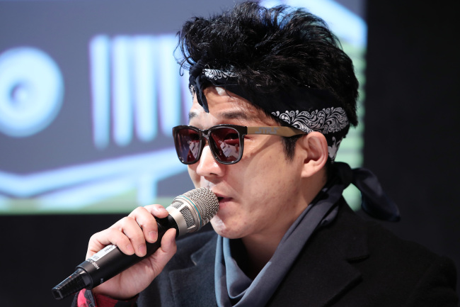 Han Kyung-rock of Crying Nut speaks during a press conference for the DMZ Peace Train Music Festival in Seoul on Tuesday. (Yonhap)