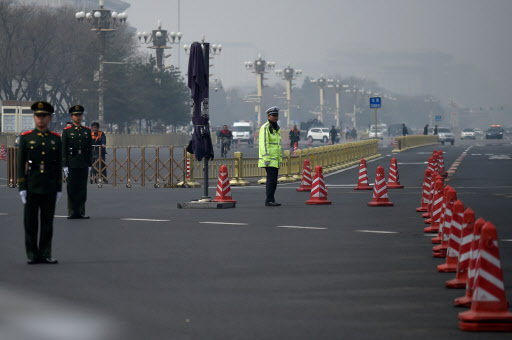 Tight security is seen in Beijing on Tuesday. (Yonhap)