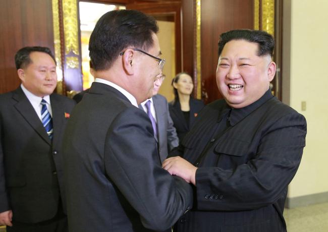 North Korea`s leader Kim Jong-un met with President Moon Jae-in`s national security adviser Chung Eui-yong. Cheong Wa Dae.