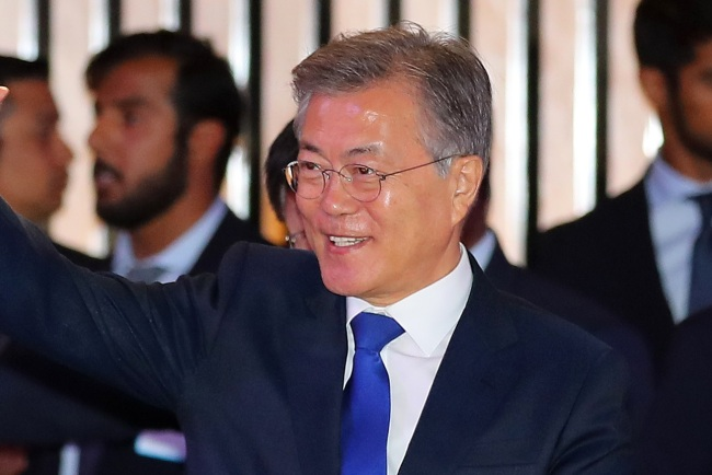 South Korean President Moon Jae-in is one of the country`s heavyweight male figures who have publicly endorsed feminism. (Yonhap)