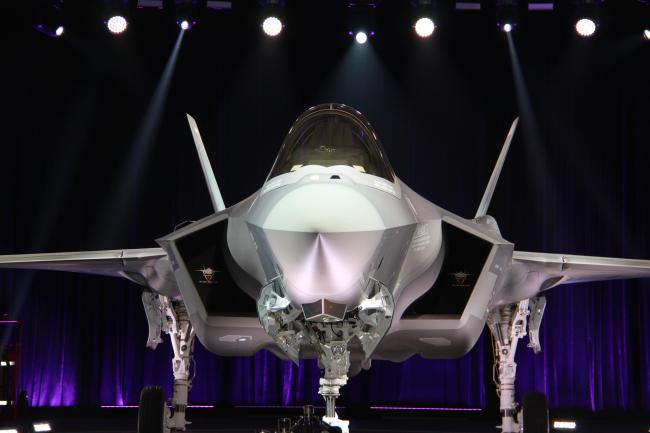 The first F-35A Lightning II jet for South Korea`s Air Force is unveiled during a ceremony at Lockheed Martin`s production facility in Fort Worth, Texas, on March 28, 2018. (Yonhap)