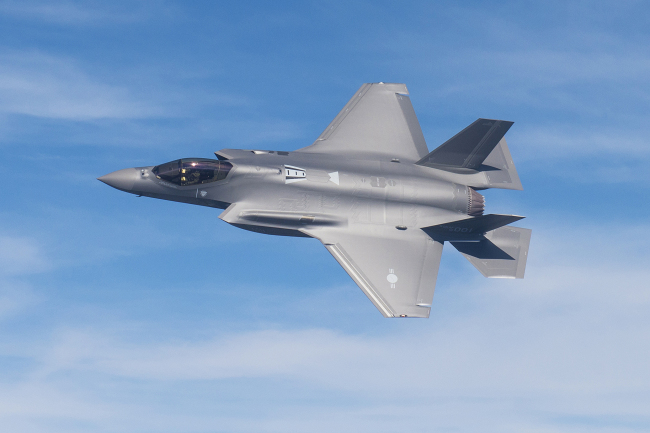 South Korea`s first F-35A stealth fighter jet conducts a test flight. (Photo courtesy of the Defense Acquisition Program Administration-Yonhap)
