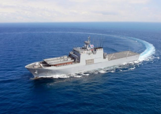 Korean Navy`s new 4,500-ton landing ship, the Ilchulbong, in a photo provided by the nation`s arms agency (Yonhap)