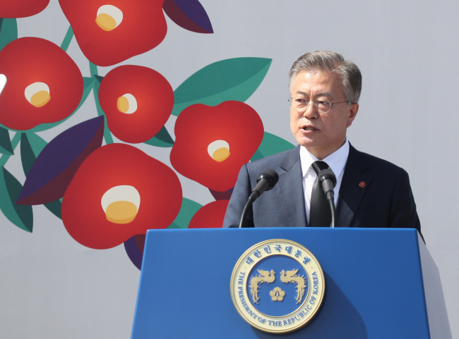 President Moon Jae-in gives a speech at the event marking the 70th anniversary of the Jeju April 3 Uprising in Jeju on Tuesday. Yonhap