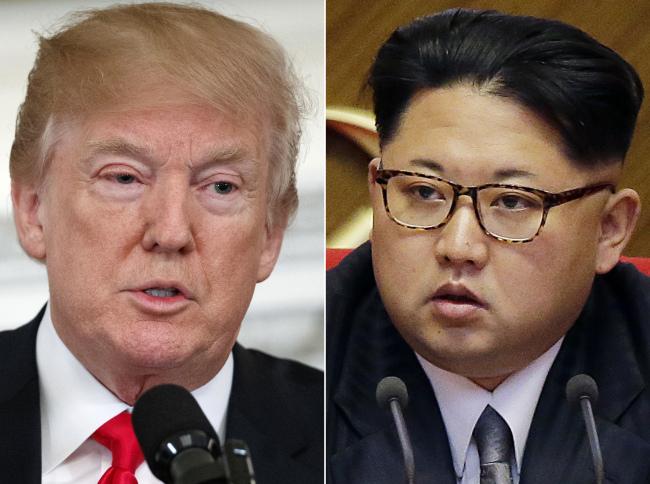 US President Donald Trump(left) and North Korea`s leader KIm Jong-un. Yonhap