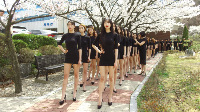 Students of Daeduk University's Department of Model strut under cherry blossoms on Tuesday. (Lim Jeong-yeo/The Korea Herald)
