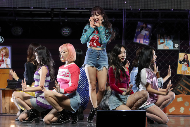 """Twice performs during a press showcase for its new EP """"What Is Love?"""" in Seoul on Monday. (Yonhap)"""