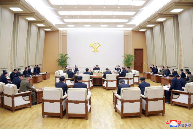 This photo, carried by North Korea`s state news agency on April 10, 2018, shows a meeting of the Political Bureau of the Central Committee of the ruling Workers` Party of Korea a day earlier. (For Use Only in the Republic of Korea. No Redistribution) (Yonhap)