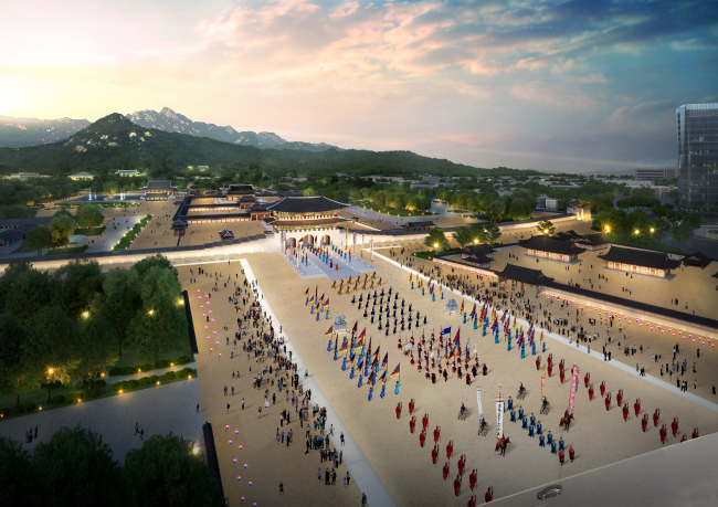 A bird`s-eye view of the envisioned new Gwanghwamun Square, provided by the Seoul Metropolitan Government and the Cultural Heritage Administration on Tuesday. (Yonhap)