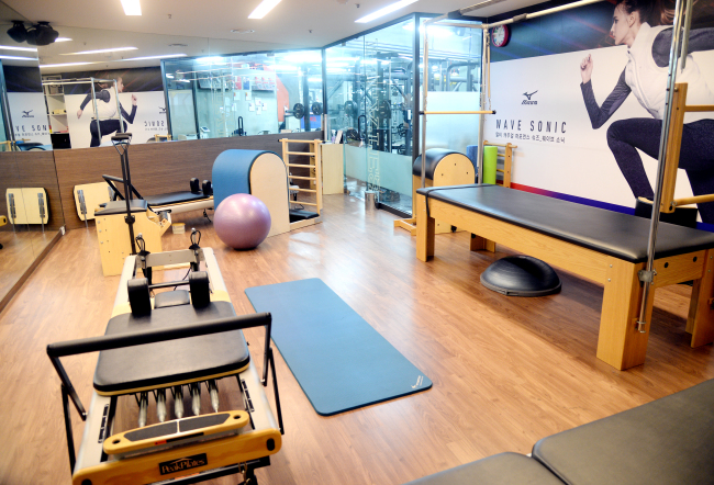 The small, private Pilates studio within King Fit gym (Park Hyun-koo/The Korea Herald)