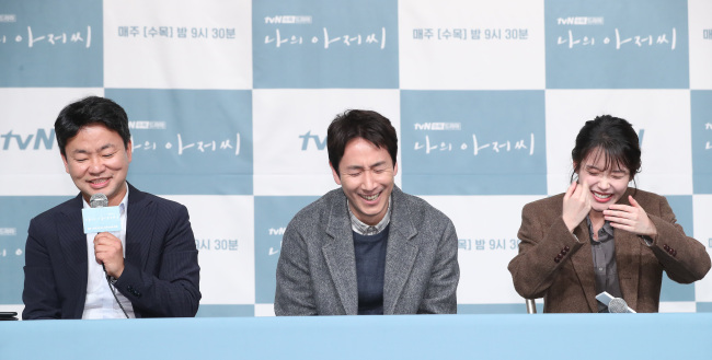 (From left) Producer Kim Won-suk, actors Lee Sun-kyun and Lee Ji-eun speak at a press conference held Wednesday at Times Square mall in Yeongdeungpo-gu, Seoul. (Yonhap)