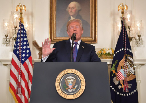 US President Donald Trump addresses the nation on the situation in Syria April 13, 2018 at the White House in Washington, DC. Trump said strikes on Syria are under way. (AFP)