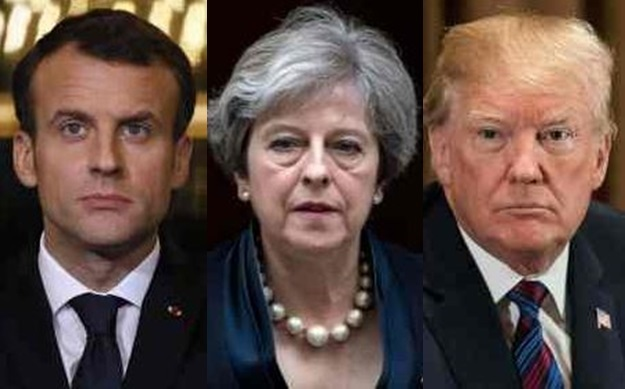 This combination of file pictures created on April 14, 2018 in Paris shows (LtoR) France`s President Emmanuel Macron giving a press conference in Paris on March 5, 2018, Britain`s Prime Minister Theresa May leaving 10 Downing Street in central London on November 1, 2017, and US President Donald Trump attending a meeting at the White House in Washington, DC, on April 12, 2018. The United States, Britain and France carried out a wave of pre-dawn strikes against Syria`s regime on April 14, 2018 in response to a suspected chemical weapons attack. (AFP-Yonhap)