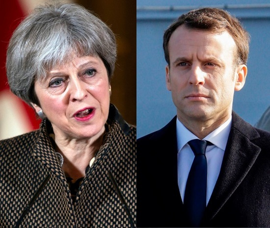 British Prime Minister Theresa May and French President Emmanuel Macron (EPA, AFP)