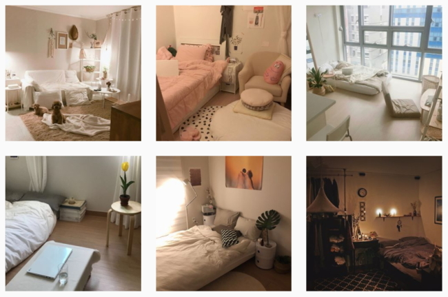 Photos of carefully decorated studio apartments are uploaded on Instagram. (Instagram)