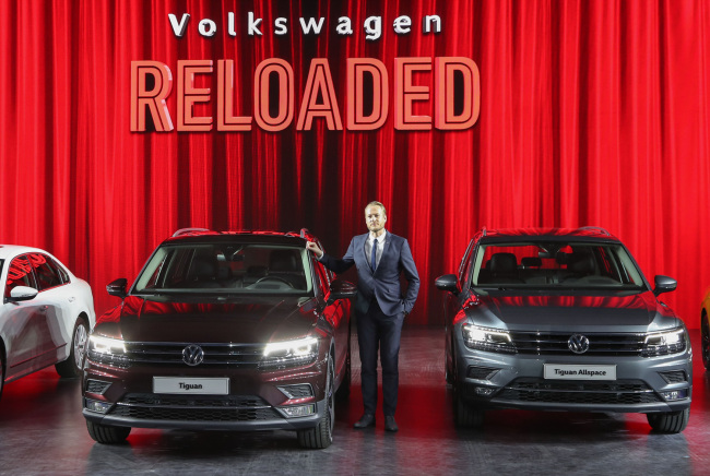 Volkswagen Korea Managing Director Stefan Krapp introduces the Tiguan and Tiguan Allspace midsize SUVs during a media event in Dongdaemun Design Plaza, central Seoul. (Volkswagen Korea)