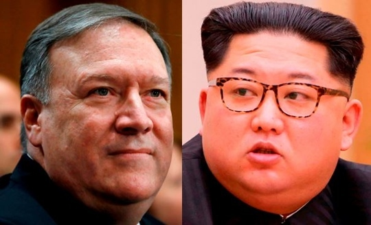 Central Intelligence Agency Director Mike Pompeo, left, and North Korean leader Kim Jong-un (Yonhap)