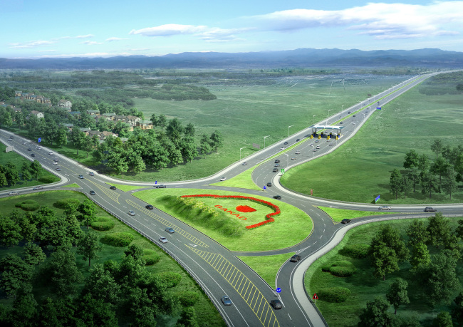 The photo shows an illustrated image of the Almaty Ring Road in Kazakhstan. SK Engineering & Construction will take part in the country's first PPP infrastructure project. (SK E&C)