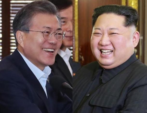 President Moon Jae-in and North Korea`s leader Kim Jong-un. Yonhap