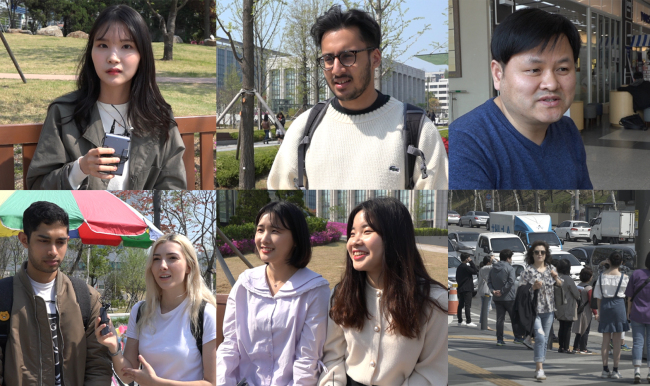 Local and foreign residents in Seoul discuss on Wednesday their expectations of the inter-Korean summit, to take place Friday. (Lim Jeong-yeo/The Korea Herald)