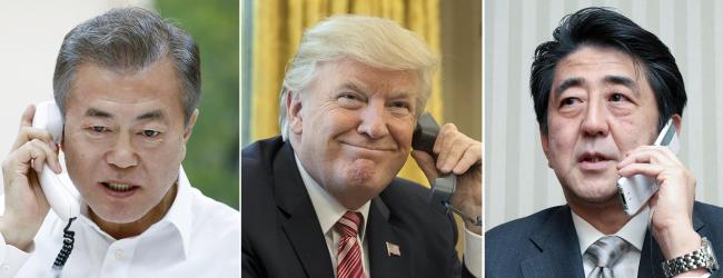 President Moon Jae-in (left), US President Donald Trump and Japanese Prime Minister Shinzo Abe. Cheong Wa Dae