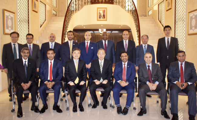 Arab ambassadors, including Mohamed al-Harthy, Omani ambassador and dean of the diplomatic corps, pose with former United Nations Secretary-General Ban Ki-moon at the Omani Embassy in Seoul on April 24. (Omani Embassy)
