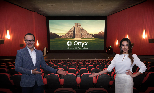 Cinemex officials promote the Onyx screen by Samsung Electronics at a theater in Mexico City. (Samsung Electronics)