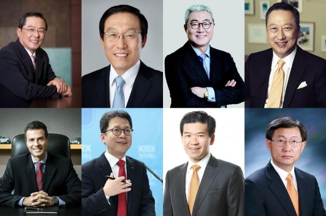 From top left, clockwise: LS Chairman Christopher Koo; Samsung Electronics CEO Kim Ki-nam; SK President Kim Jun; KCCI Chairman Park Yong-maan; Hyundai Motor Vice Chairman Yang Woong-chul; AmCham Chairman James Kim; Korea Exchange Chairman Jung Ji-won; ECCK Chairman Dimitris Psillakis