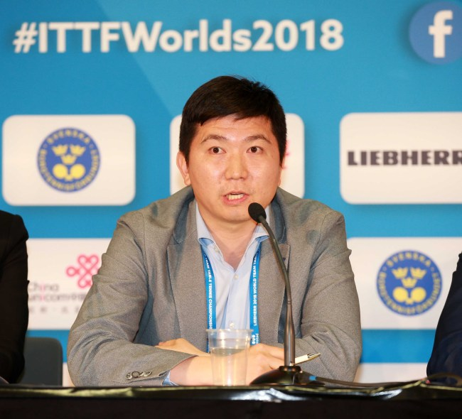 Ryu Seung-min, the 2004 Olympic men`s singles table tennis champion, speaks at a press conference in Halmstad, Sweden, on May 3 (local time). (Yonhap)