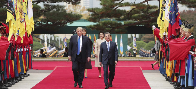 President Moon Jae-in and US President Donald Trump during their summit meeting in Seoul in November 2017. Cheong Wa Dae
