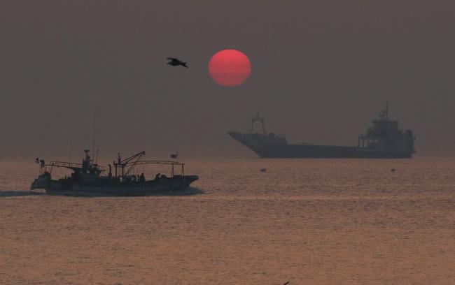 Fishing vessels on the water near Yeonpyeong Island. Yonhap