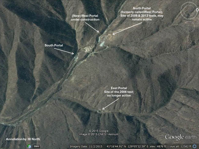 Google's satellite imagery of Punggyeri nuclear test site. (38 North)