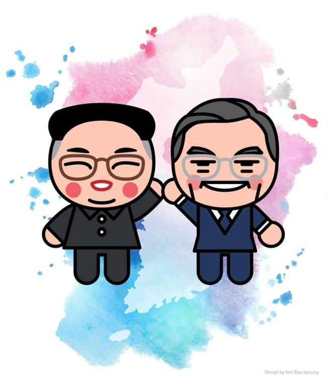 Character designer Kim Boo-kyoung's drawing of Moon Jae-in and Kim Jong-un. (Vooz)