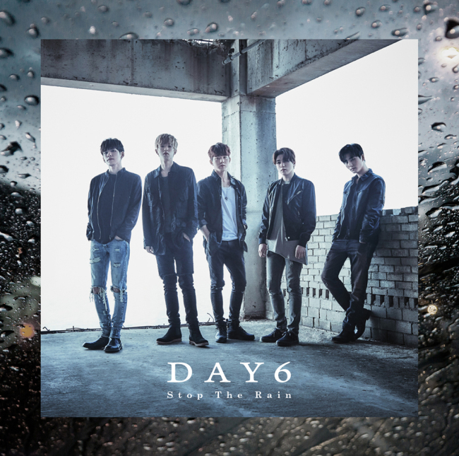 "Poster for Day6's upcoming Japanese single ""Stop the Rain"" (JYP Entertainment)"