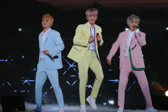 EXO-CBX performs at a concert in Yokohama on Friday. (JYP Entertainment)