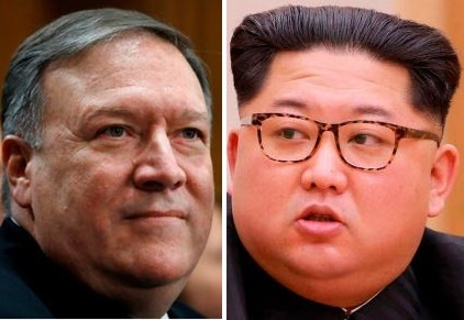 US secretary of state Mike Pompeo (left), North Korean leader Kim Jong-un (Yonhap)