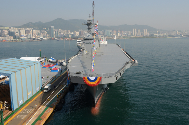 This photo provided by the Defense Acquisition Program Administration shows South Korea`s new 14,500-ton amphibious assault ship, the Marado. (Yonhap)