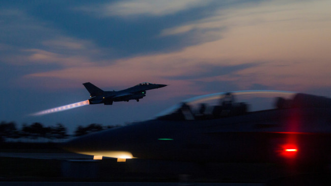 A South Korean Air Force F-16 Fighting Falcon aircraft takes off during exercise Max Thunder. (Reuters)