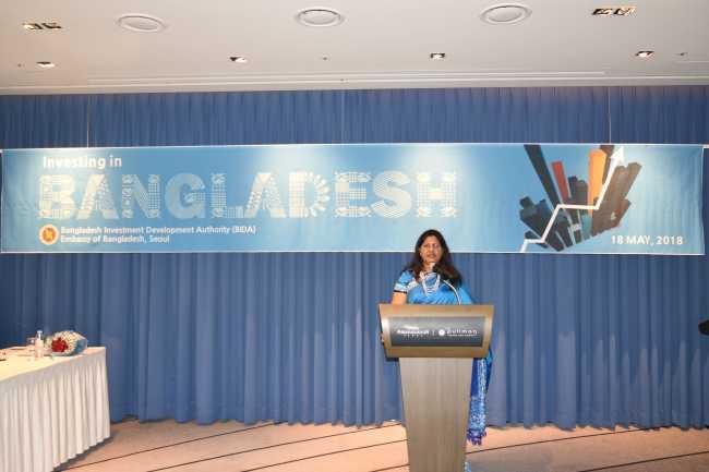 Bangladesh Ambassador to Korea Abida Islam speaks at the Bangladesh Investment Seminar in Seoul on Friday. (Bangladesh Embassy)